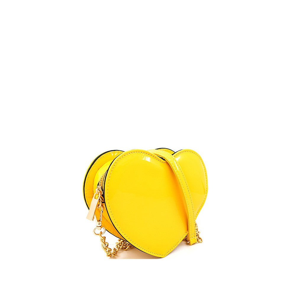 Cross Body Yellow Mini Heart Bag