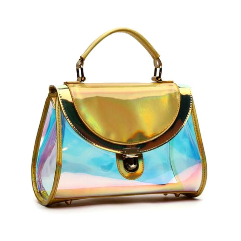 The Accessory Collection: Gold Hologram Patent Bag with Handle