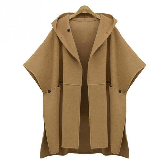On Second Thought: Hooded Batwing Sleeve Overcoat