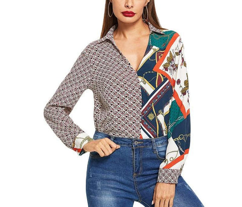 On Second Thought: Color Block Mixed Print V-Neck Collar Shirt
