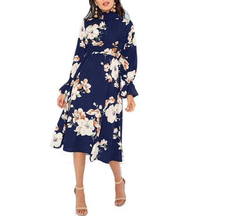 On Second Thought: Mock Neck Long Sleeve Midi Length Floral Dress