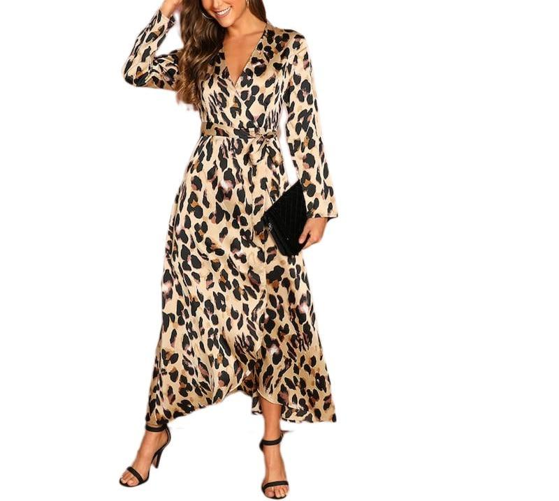Satin V-Neck Leopard Dress