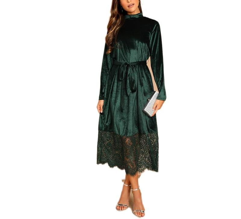 Emerald Lace Trim Long Sleeve Dress