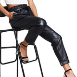 Slim High Waist Faux Leather Pant in Black
