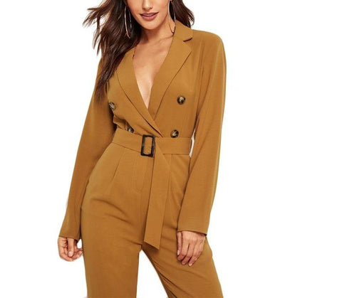 On Second Thought: Deep V-Neck Taupe Blazer Belted Jumpsuit
