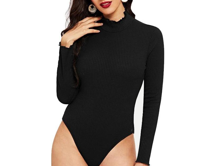 Black Bodysuit with Mock Frill Neck