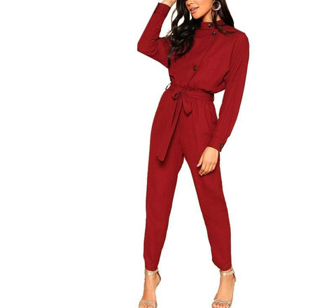On Second Thought: Long Sleeve Asymmetric Button Front Jumpsuit