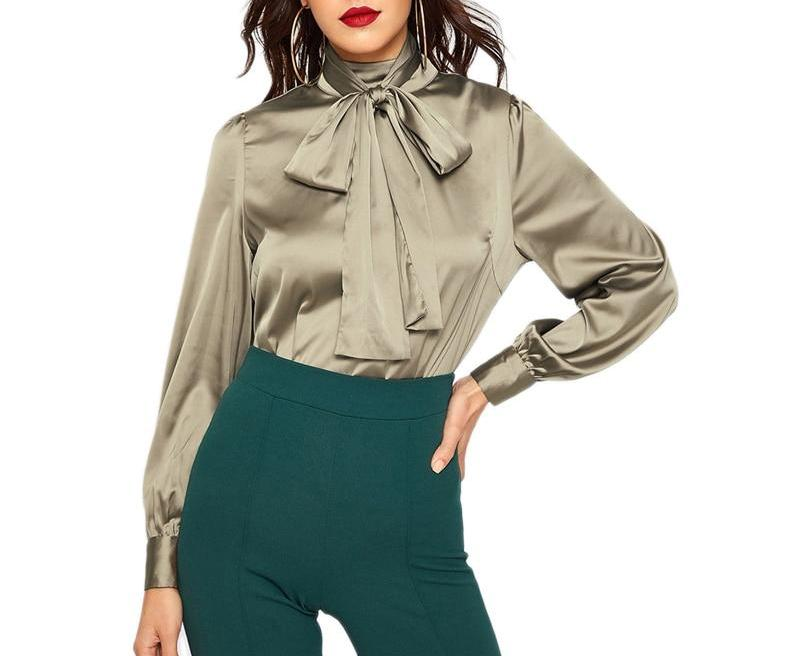 On Second Thought: Satin Blouse with Tie Front