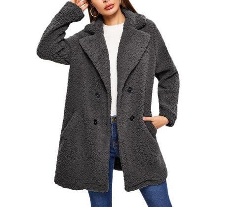 On Second Thought: Charcoal Grey Double Breasted Teddy Notch Collar Pocket Coat