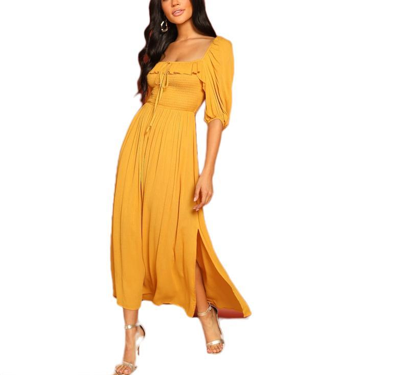 On Second Thought: Yellow Square Neck Midi Dress