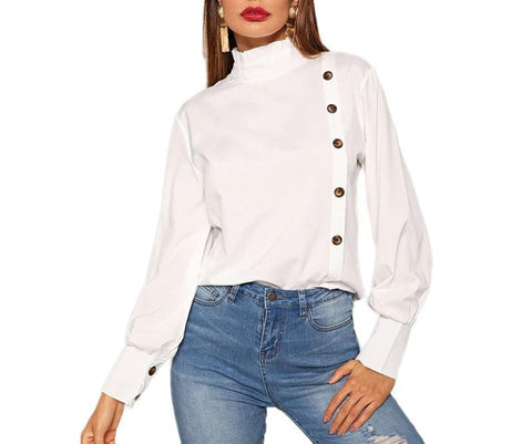 On Second Thought: White Turtleneck Blouse with Cuff and Side Button Detail