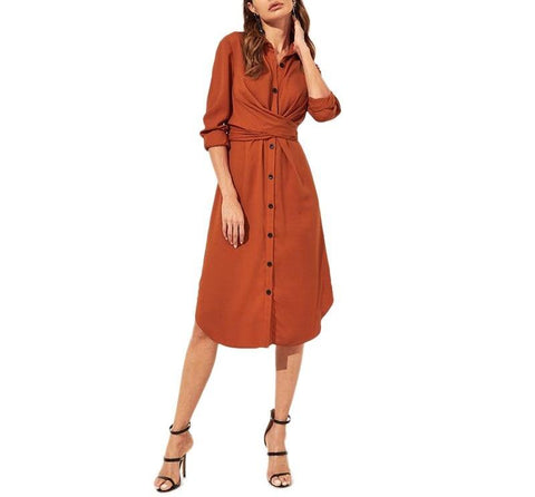 On Second Thought: Orange Knot Wrap Button Front Dress
