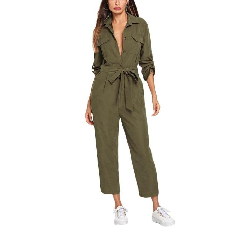 On Second Thought: Olive Crop Belted Jumpsuit