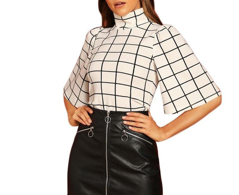 On Second Thought: Black and White Half Sleeve Mock Neck Blouse