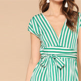On Second Thought: Cap Sleeve V Neck Mixed Striped Belted Dress