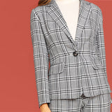 Skinny Leg Crop Plaid Power Suit