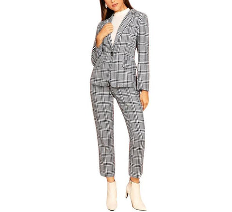 On Second Thought: Grey Ankle Crop Power Suit in Plaid