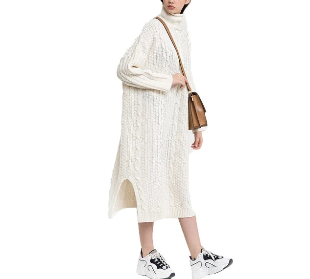 On Second Thought: Loose Knit Below Knee Split Sides Cable Sweater Dress