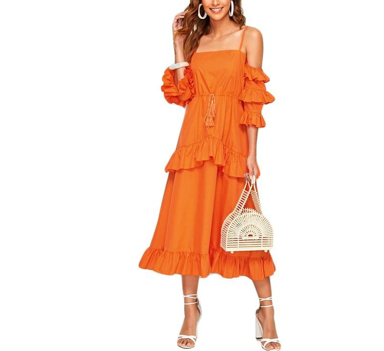 Neon Orange Tiered Dress