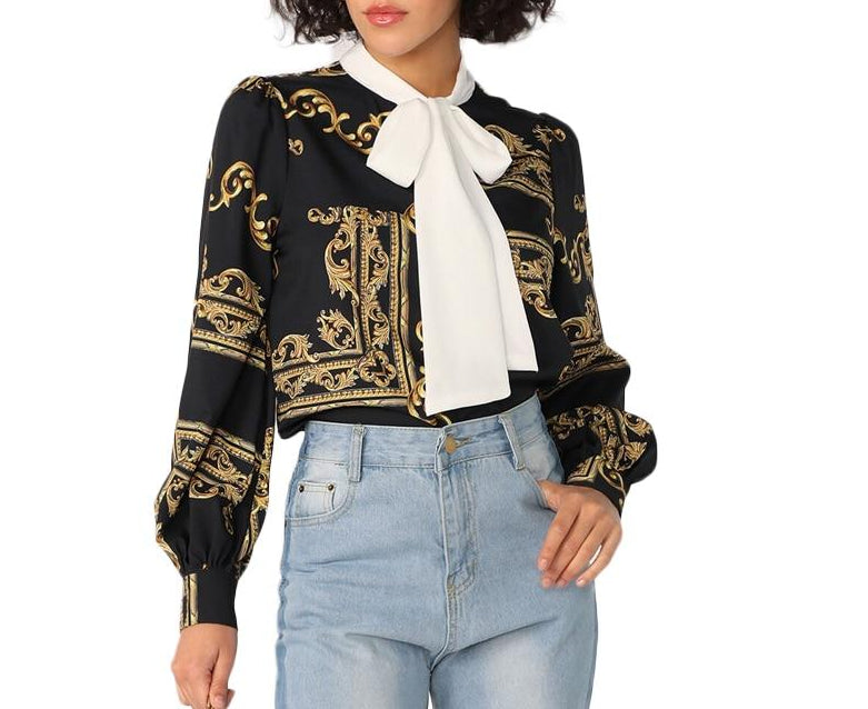 On Second Thought: Tie Neck Medusa Blouse