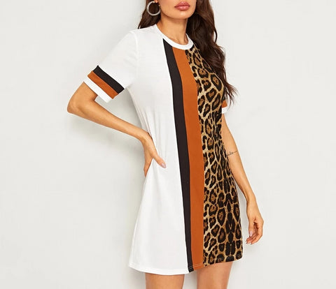 On Second Thought: Colorblock Leopard Print Shirt Dress