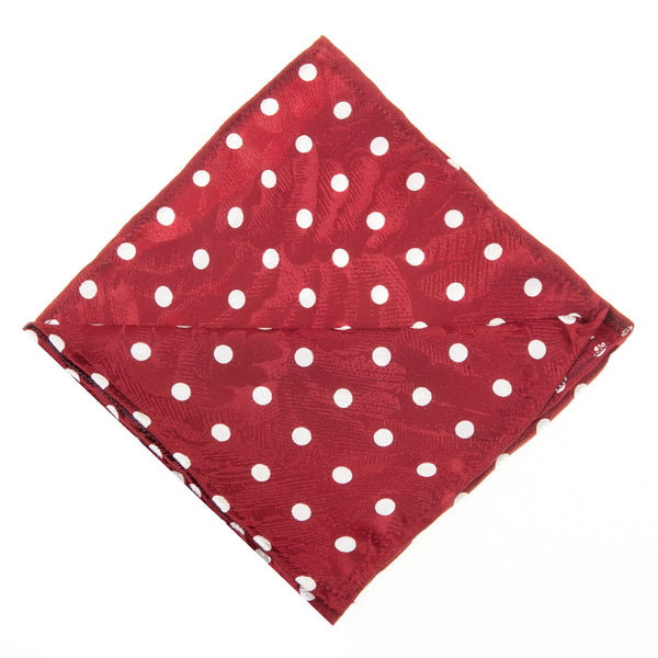 Polka Dot Pocket Square-Red & White
