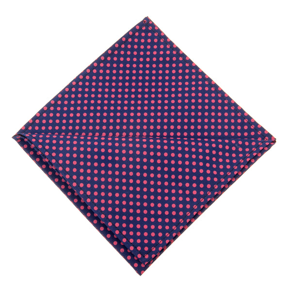 Polka Dots Pocket Square Navy & Pink
