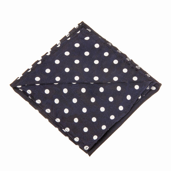 Polka Dots Navy & White Pocket Square