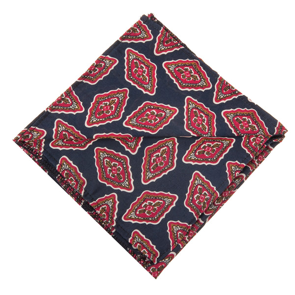 Vintage Print Pocket Square -Navy & Red