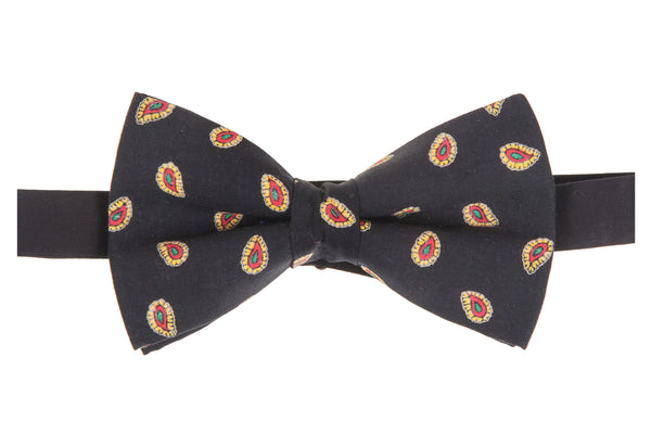 Black With Gold Paisley Bow Tie