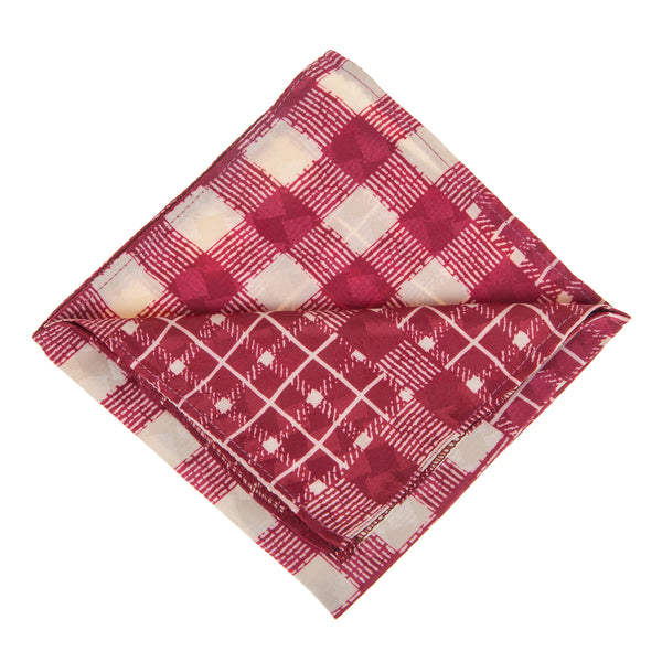 Red and White Patterned Pocket Square