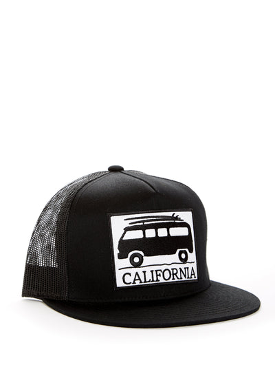 California - Vintage - VW Bus Surfboard - Black Baseball Hat