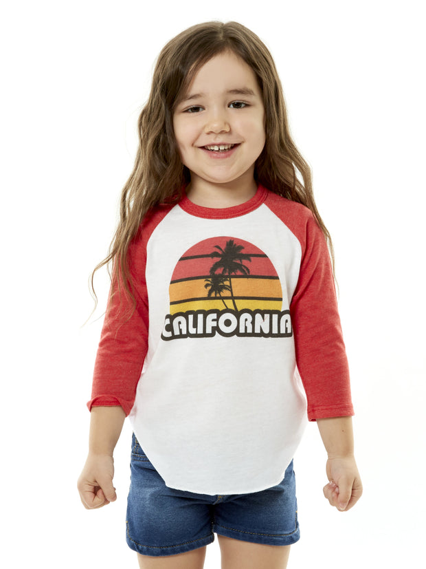 Kids - California - Retro - Palm Tree - Sunset - Red and White Raglan