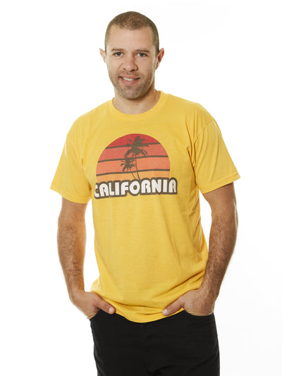Men's - California - Retro - Palm Tree - Sunset - Gold - T-shirt
