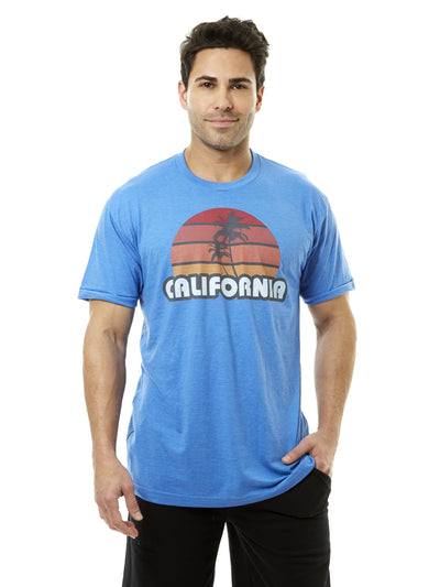 Men's - California - Retro - Palm Tree - Sunset - Blue T-shirt