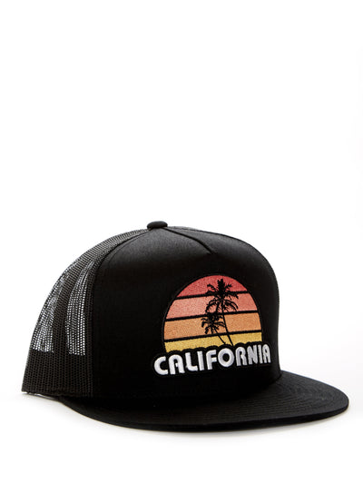 California - Retro - Palm Tree - Sunset - Black Baseball Hat