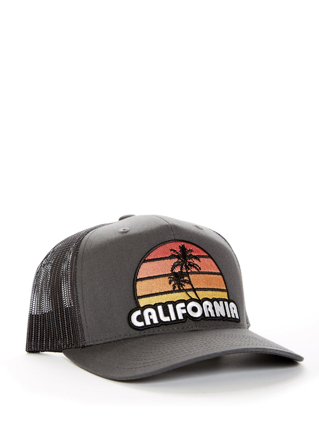 California - Retro - Palm Tree - Sunset - Grey Baseball Hat
