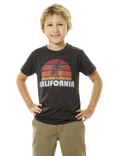 Kids - California - Retro - Palm Tree - Sunset - Black T-shirt