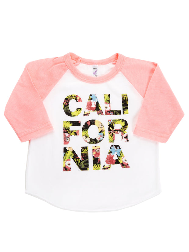 Infants - California - Tropical Flowers - Light Pink Baseball Tee