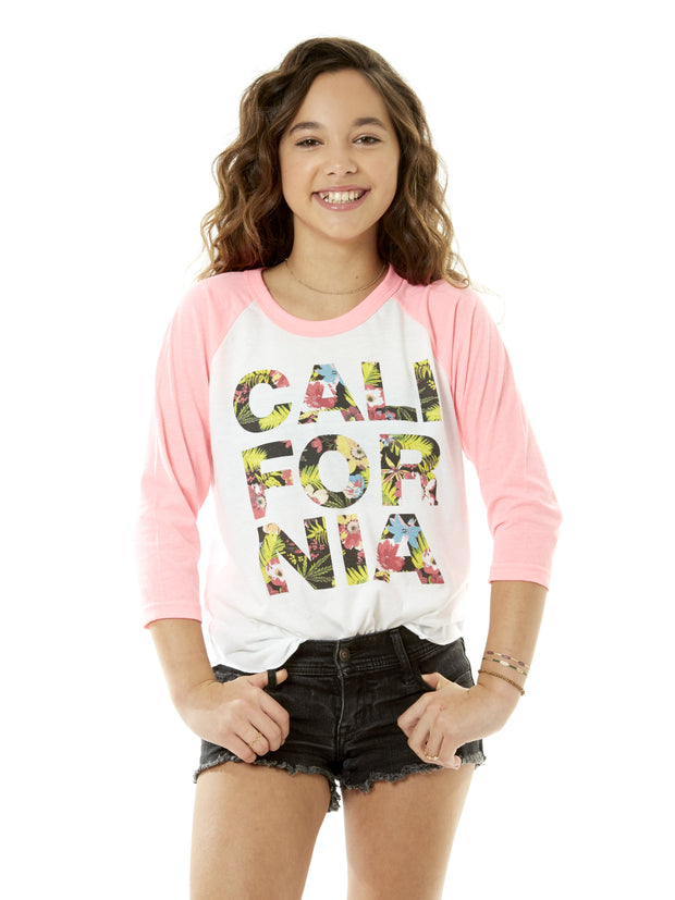 Kids - California - Tropical Flowers - Light Pink Baseball Tee