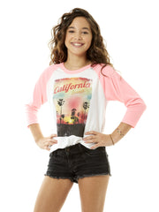 Kids - California Sunset - Cool Classic - Pink and White Baseball Tee