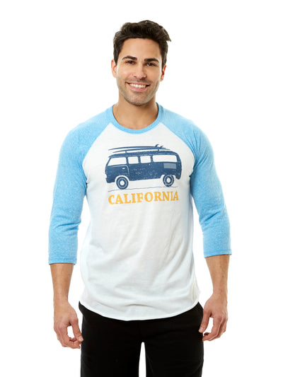 Men's - California - Vintage - VW Bus Surfboard - White and Blue Baseball Tee