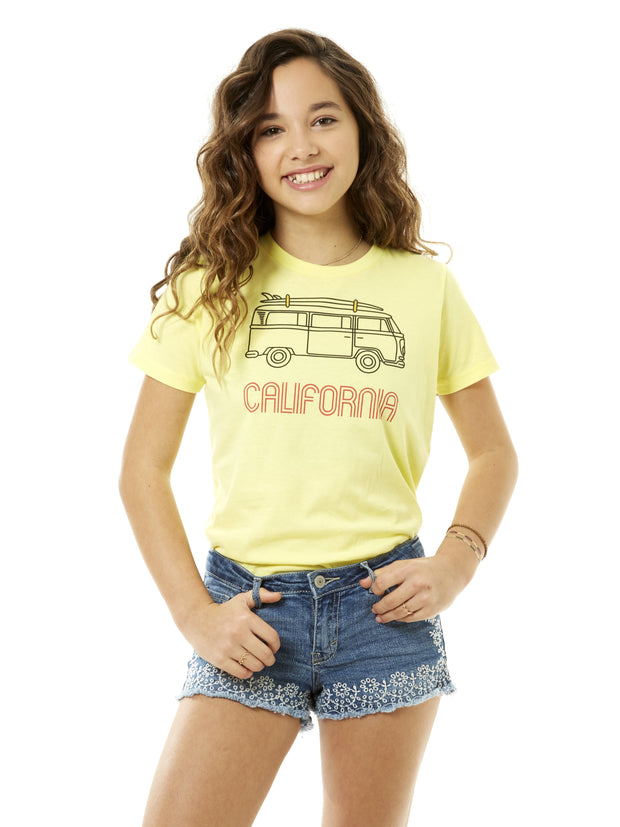 Kids - California - Vintage - VW Bus Surfboard - Yellow T-shirt