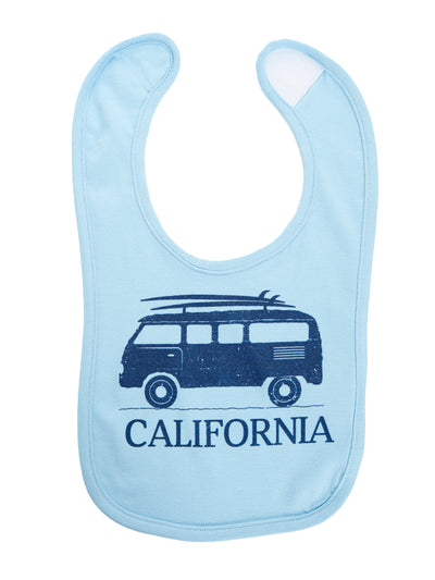 Infant - California - Vintage - VW Bus Surfboard - Blue Bib