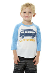 Kids - California - Vintage - VW Bus Surfboard - White and Blue Baseball Tee