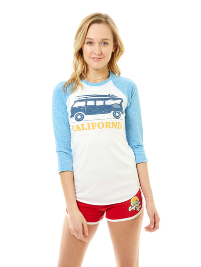 Women's - California - Vintage - VW Bus Surfboard - White and Blue Baseball Tee
