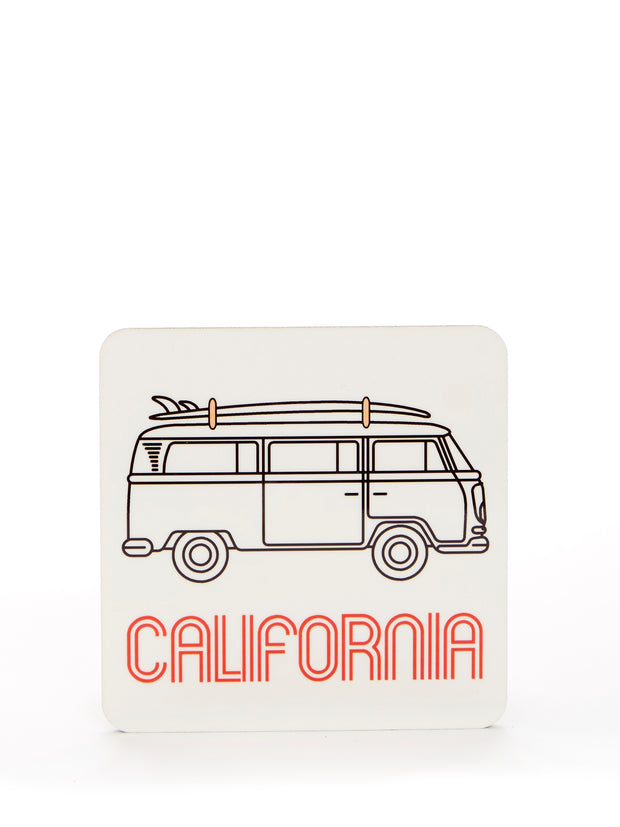 California - Vintage - VW Bus Surfboard - White Coaster