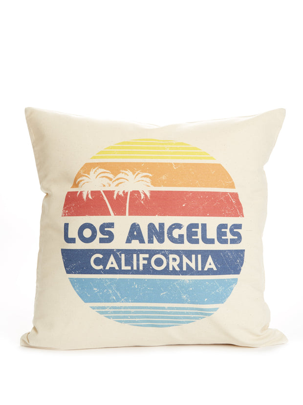 Los Angeles - California  - Vintage - Circle - Pillow Case
