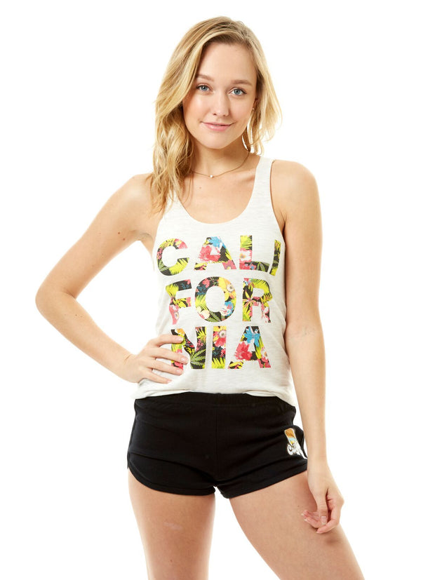 Women's - California - Tropical Flowers - Oatmeal Tank Top