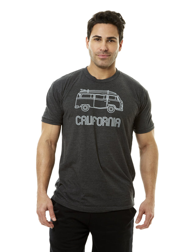 Men's - California - Vintage - VW Bus Surfboard - Black T-shirt